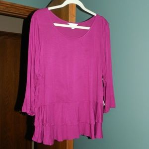 NWT Boutique Maroon w/Bottom Ruffles Top